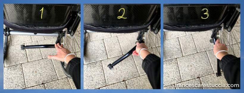 inserimento ruotina antiribaltamento sedia a rotelle
